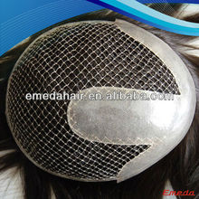 High quality natural looking human hair indian remy fish net human hair wig for men