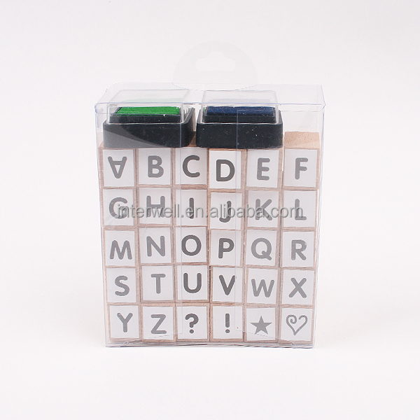 INTERWELL CMY104 Alphabet Stamp, Deluxe Wooden Stamp Set with Ink Pad