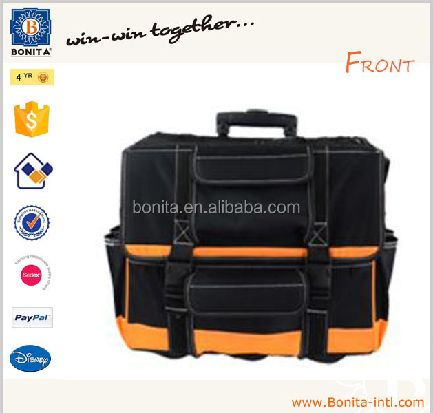 New design multifunction heavy duty trolley tool bag with wheels rolling
