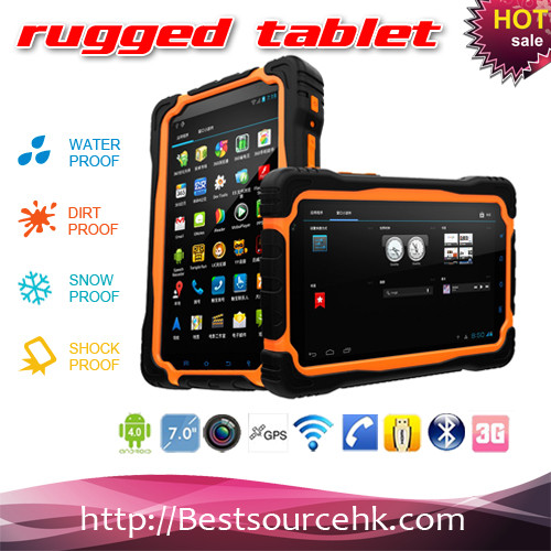 Cheapest 3G Rugged Tablet PC MTK 6589 quad core 1G+4G Rugged Tablet PC Battery for 10000mah-cherry