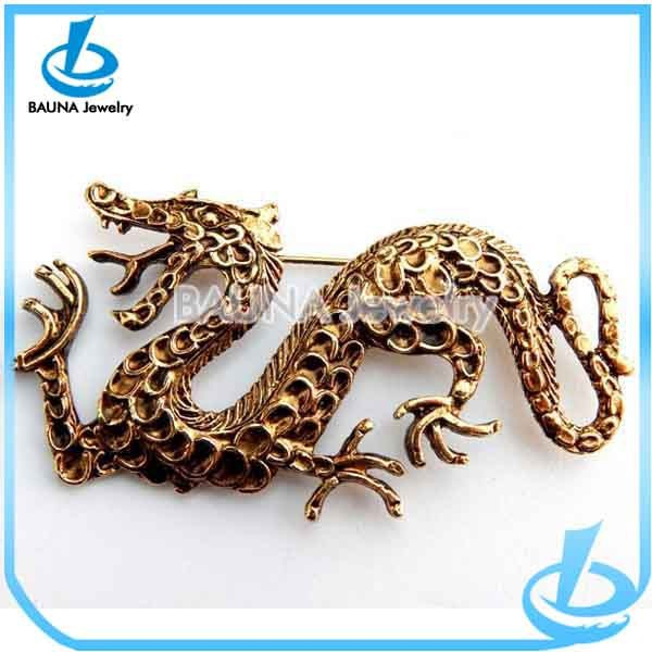 Vintage Chinese Dragon Brooch Pin, Large Gold Dragon Pin Good Fortune, Mythical Dragon Brooch