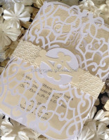 embossed gate wedding invitation complete with embossed & flocking belt printing initials