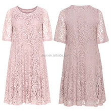 korean style casual one piece dress for women party wear short sleeve A-line lace see through evening dresses