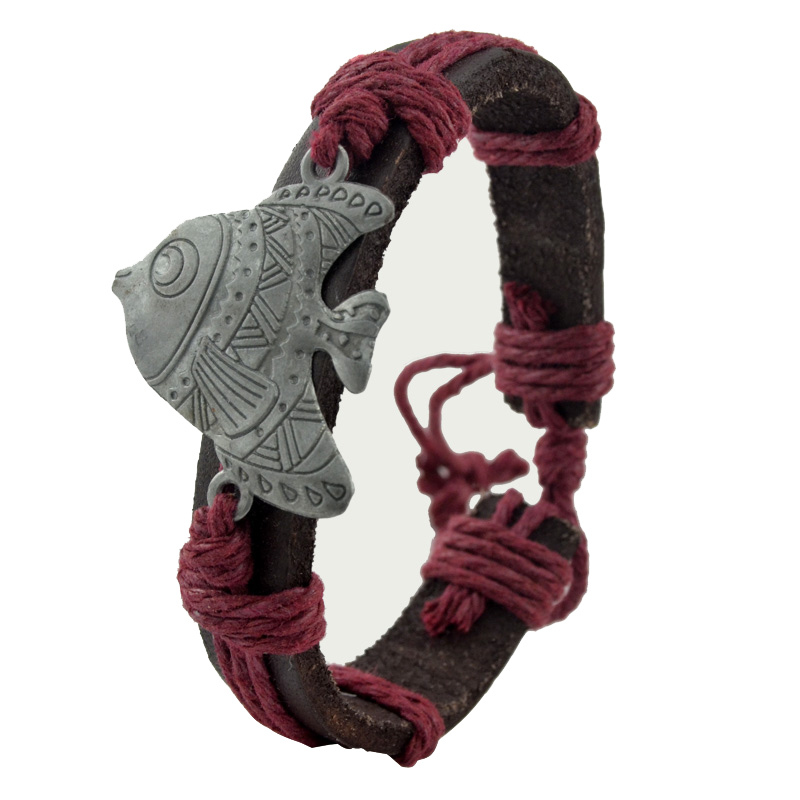 Summer Jewelry Retro Style Adjustable Brown Leather Bracelets Metal fish Charm Bracelets & Bangles