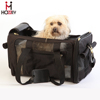 Dog Carrier for Plane Travel Folding Pet Carrier Leather Black
