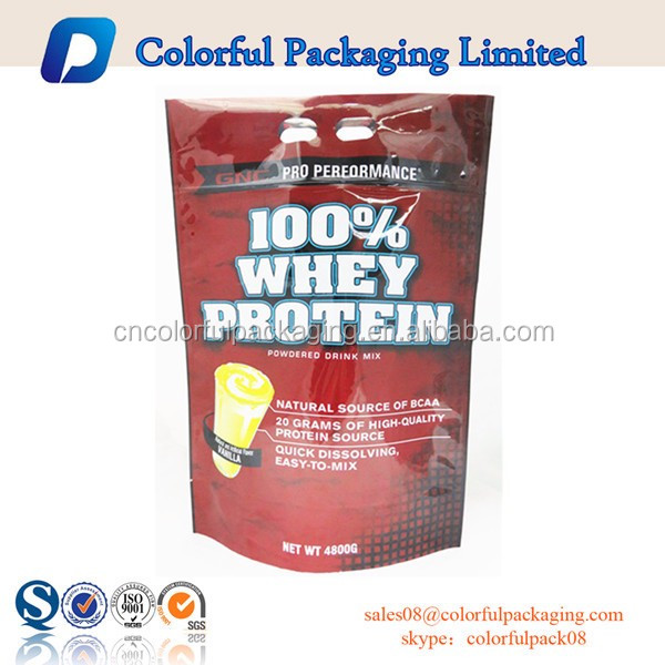 OEM high quality 1.5kg doypack aluminum foil laminated whey protein packaging