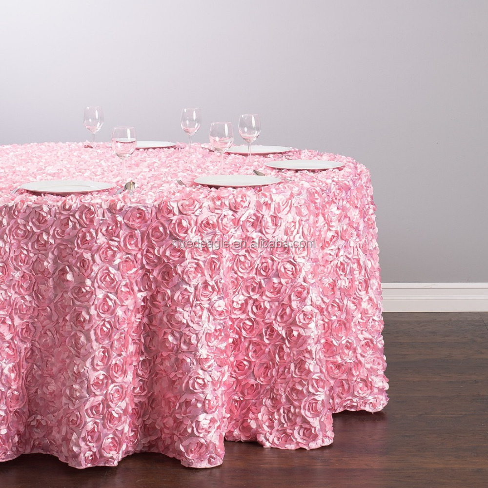 pink Rosette Satin Table Cloth For wedding decoration chair covers and table covers