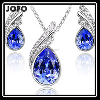 Hot Sales Aquamarine Crystal Water Drop Stone Wedding Jewelry Set Lady Party MGJ0289
