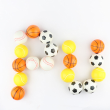 Hot 6.3cm Children PU Foam Stress Ball Cheap New Basketball Soccer Tennis Baseball Sponge Ball