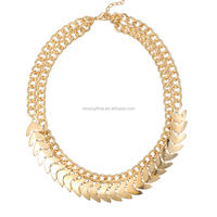 Mens Punk Hip Hop 22k Gold Jewelry Arrow Head Round Chunky Chain Link Necklace