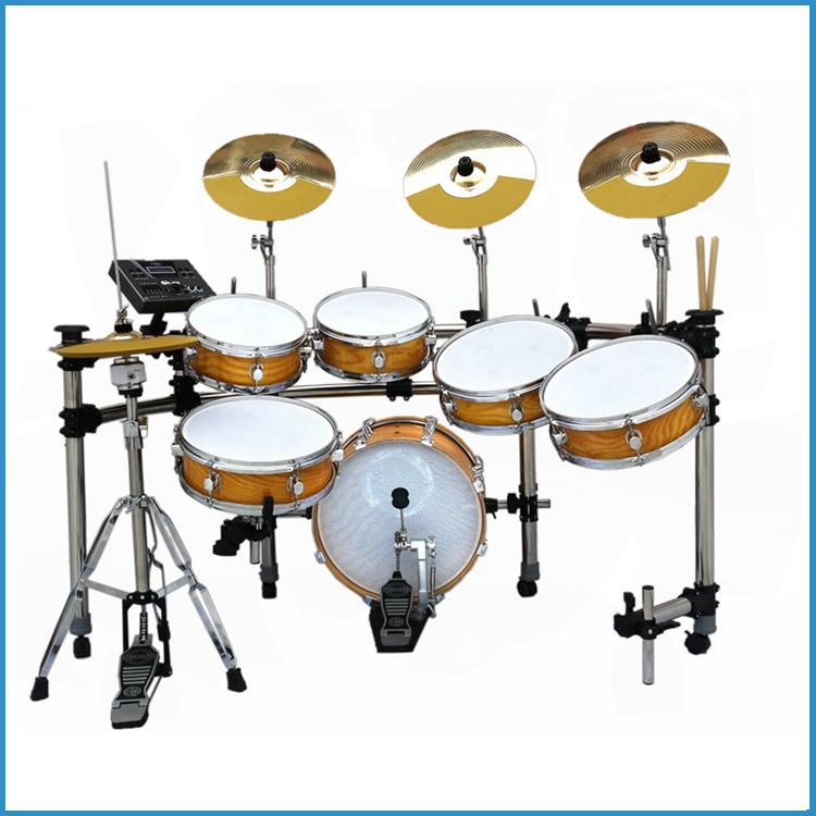 6 Pcs Golden Black Electric Drum SetElectric Drum Kit