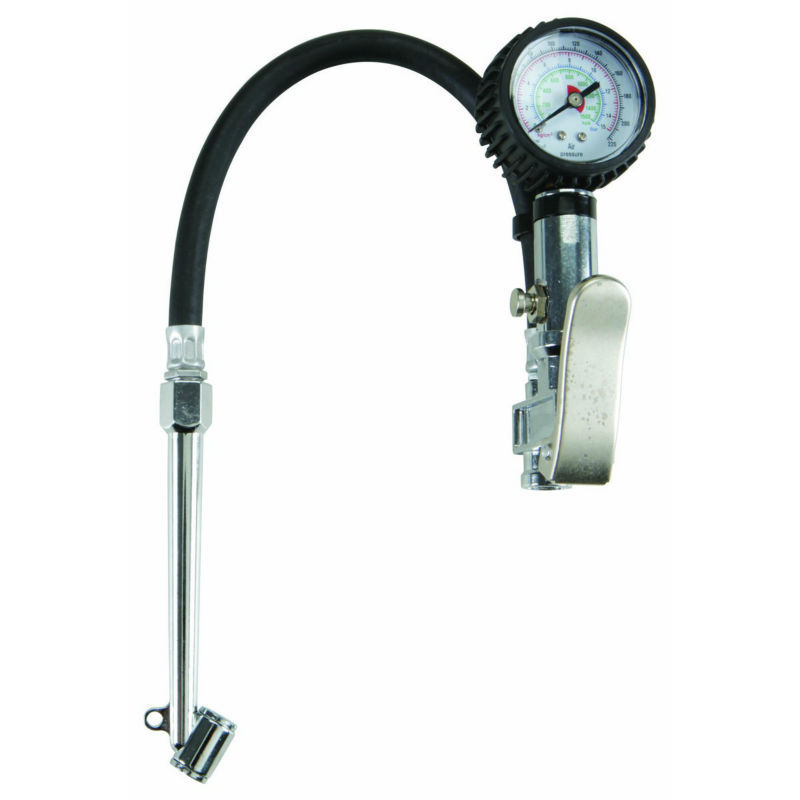 Dual Chuck Tire Inflator With Dial Gauge