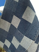 10OZ 100%cotton Plaid Jacquard denim fabric for Jeans and Jacket(Can change to light weight)