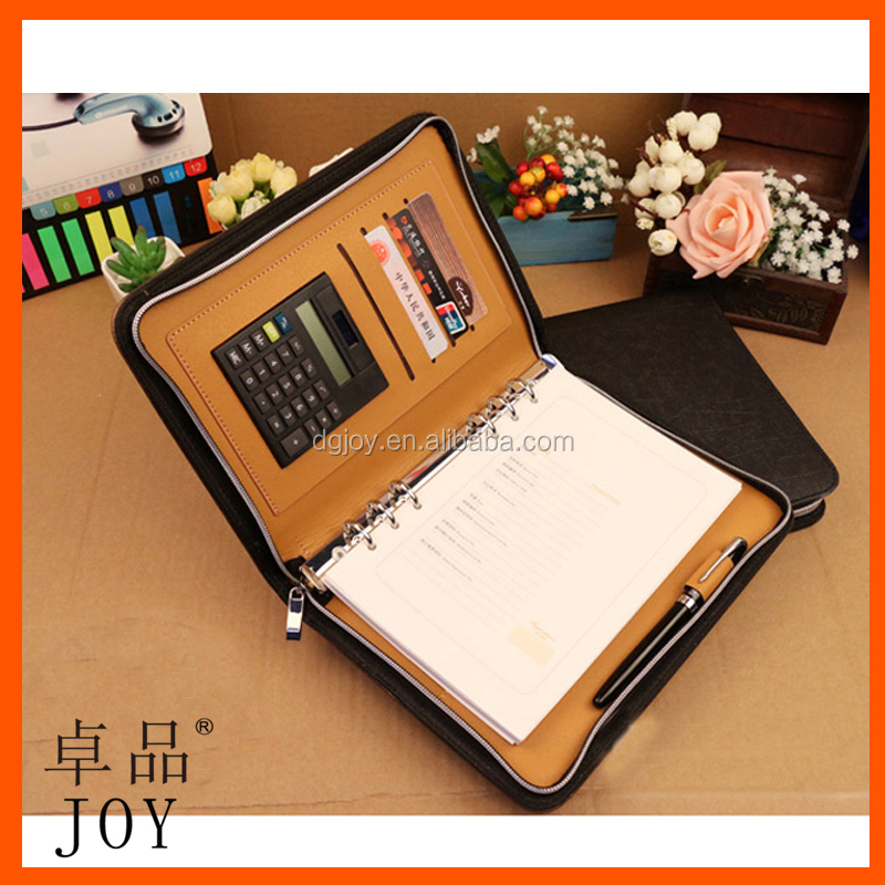 A4 PU Leather File Folder business Portfolio with Calculator and pen holder