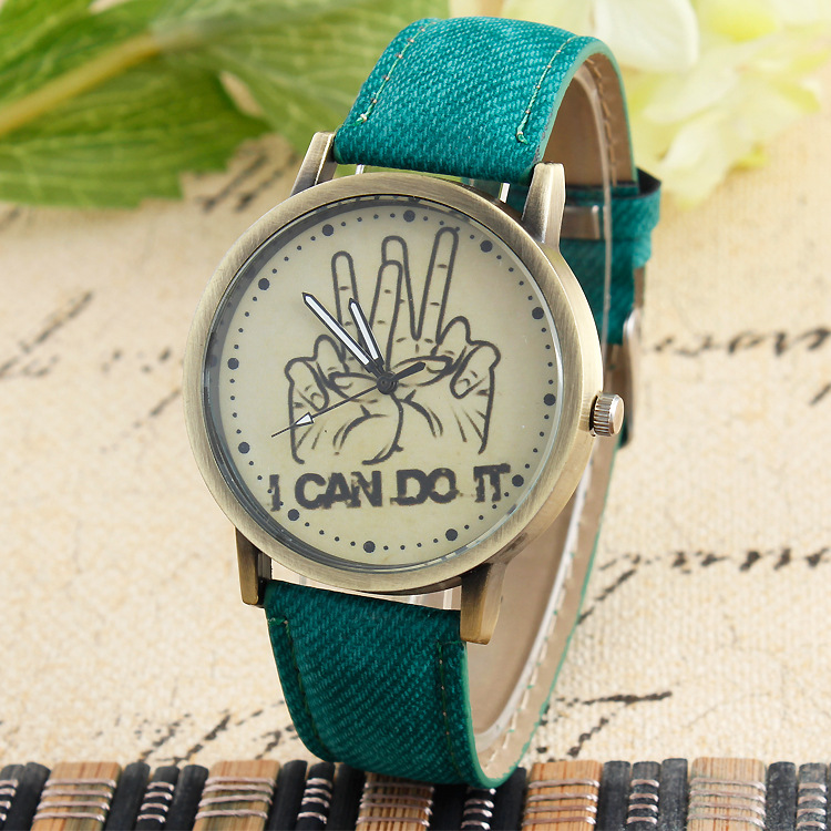 2015 New Fashion Canvas I Can Do It Watches Oh Yeah Finger Pattern Watch Casual Quartz Wristwatches Cartoon Hot Sale