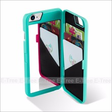 Factory price MOQ 10 pcs universal plastic mirror smart phone shockproof wallet case for iPhone 7