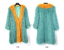 Yanran Fur YR1007 V-Neck Fashion Blue Patchwork Real Curly Lamb Knit Fur Coat