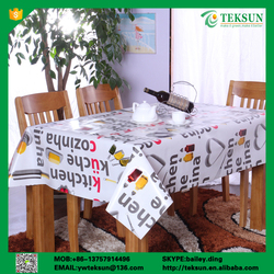 Teksun non-toxic heat resistant fabric backing pvc table cloth for kitchen