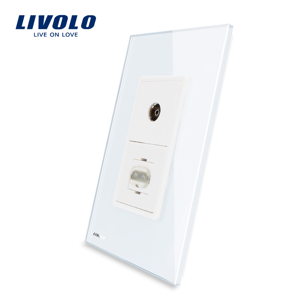 Livolo Electrical Socket Manufacturer Crystal Glass Wall Satellite and TV Socket VL-C591VHD-11