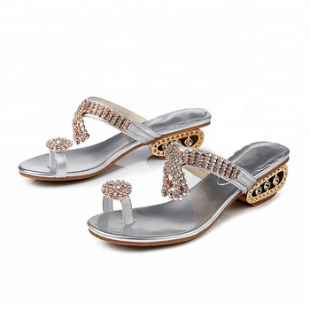 Rhinestone ladies low heel sandal flip flops for women