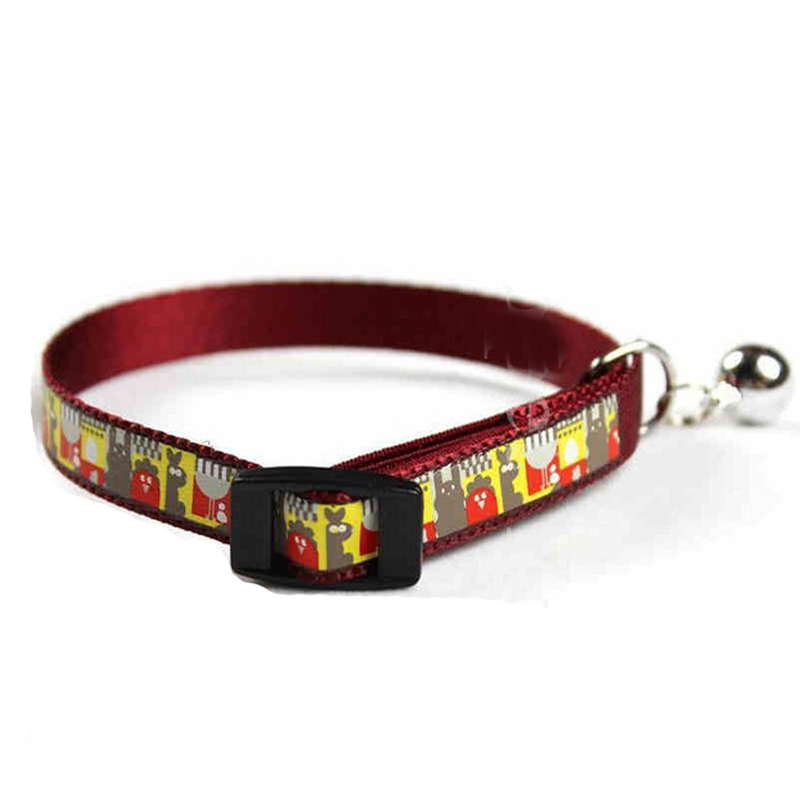 Hot Sale Nylon Silkscreen Adjustable Pet Products Dog Cat Collar Pet Cat Reflective Collar With Bell Cute