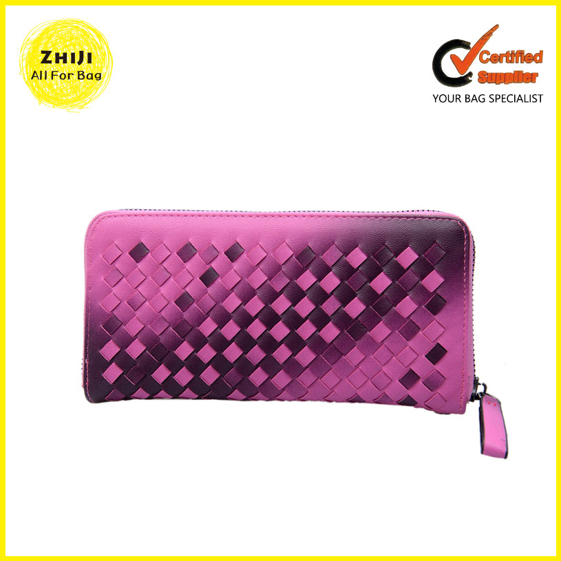 2016 Custom Manufacturer Fahsion Women Knitting Wallet Elegant Pu Leather Ladies Purse Zipper China Clutch Bag For Lady