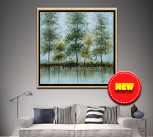 abstract simple decoration tree wall canvas framed oil paintings with oil painted