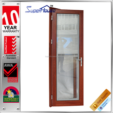 Australia AS2047 standard wood color double glass thermal break aluminium french door with blinds inside