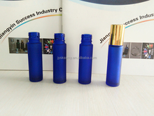 Wholesale empty 10ml blue frosted glass roll on bottle