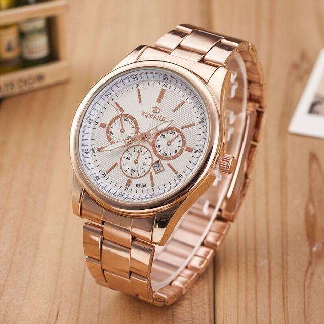 Top Selling Calendar Men Watches Rose Gold Strap Blue Face Wristwatch