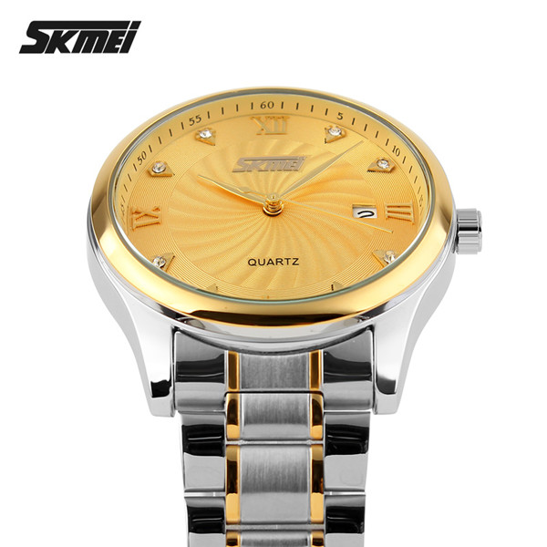 cheap stainless steel watch water resistant japan movt gold diamond quartz watch
