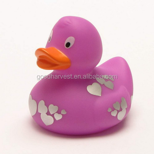 purple with silver hearts Bath Duck Rubber Ducky Rubber Duckie