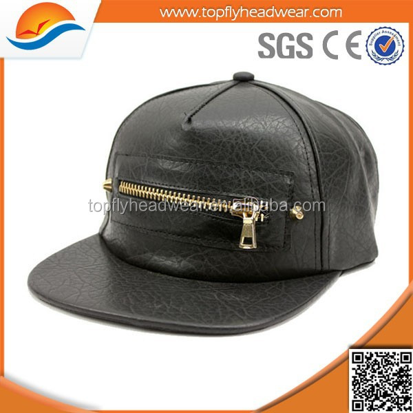 Plain Leather Snapback Caps/Black Adjustable 5 Panel Snapback Hat/Hip Hop Snapback Cap With Zipper