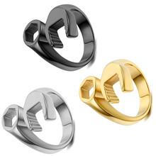 2017 Fashion Cool Biker Mechanic Wrench Stainless Steel Mens Ring Punk Style Rings for men Size 6-13