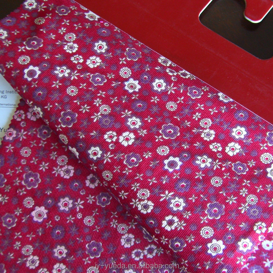Famous Buyers Tailor Flowers Pattern Baby Wale Cotton Corduroy Fabric Printed 24Wales