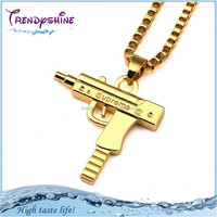 Fashion european men's hip hop 18k gold gun necklace