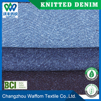 cheap 100 cotton jacquard jersey knit denim fabric for mens shirt