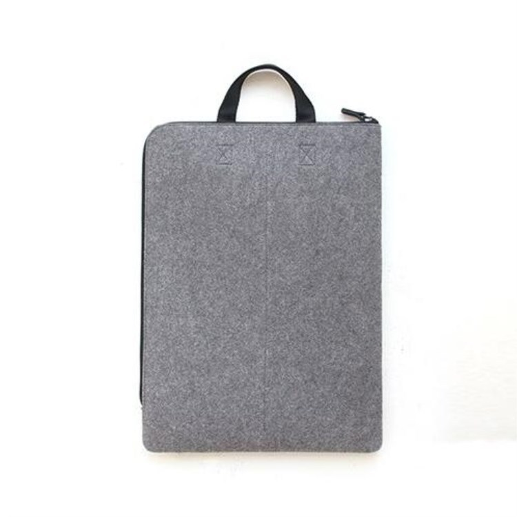 Free sample grey business felt document carry bag with zipper