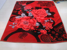 2015 good quality cheaper price two layers one side embossed Red flower pattern selection Rachel Blanket