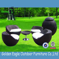 Folded rattan outdoor furniture patio garden table and chairs space saving furniture