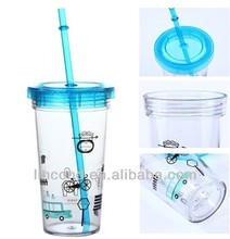 Hot sale double wall plastic cup, plastic double wall cup with insert paper