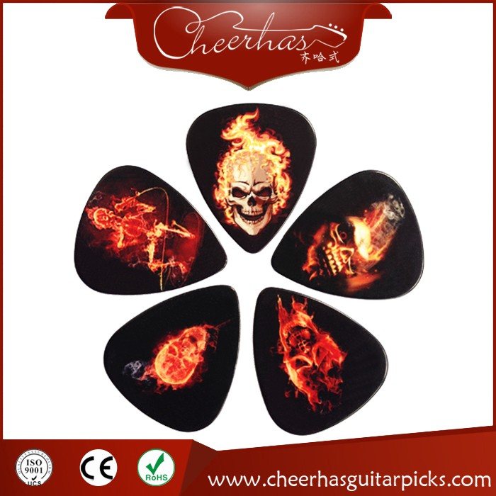 Guitar Accessories Skull Human Rock Band Two Sides Earrings Guitar Picks