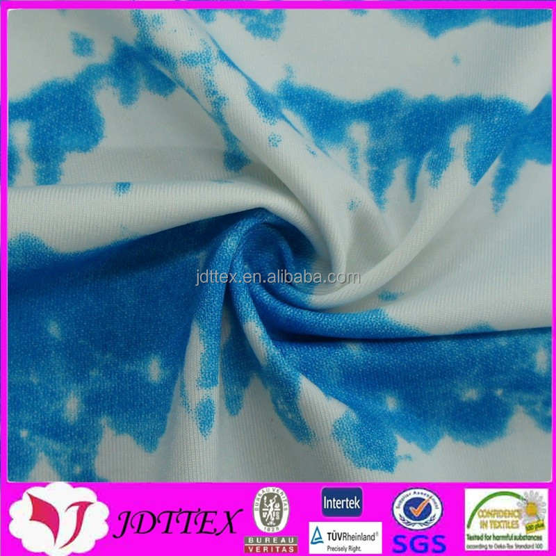 fahsion custom semi-dull high elastane tie dying printed nylon spandex sports fabric