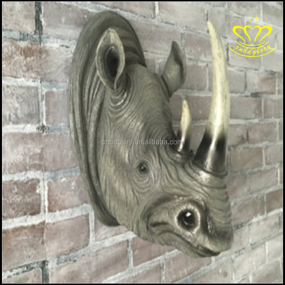 Famous wall art animal deer elephant rhinoceros head sculpture for wall display