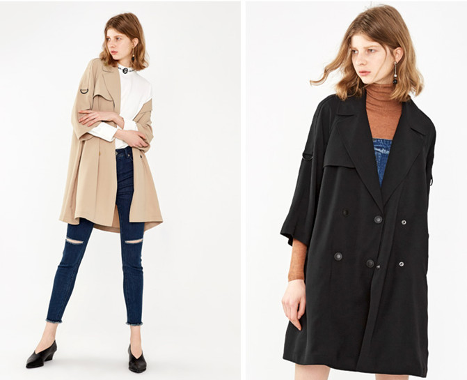 2017 Autumn winter loose Lapel double-breasted trench wind coat China garment manufacturer