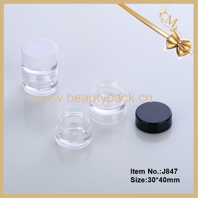 2017 hot sale transparent round empty two set plastic cosmetic jar