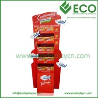 30% Discount Grocery Store Display Racks, Corrugated Floor Display Shelves, Floor Standing Pop Up Display
