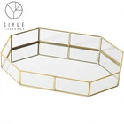 Nordic style copper side glass irregular hand welding jewelry storage tray