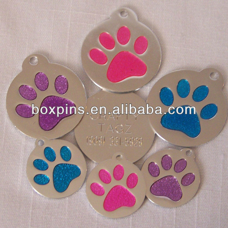 glitter paw logo pet/cat/dog id tags