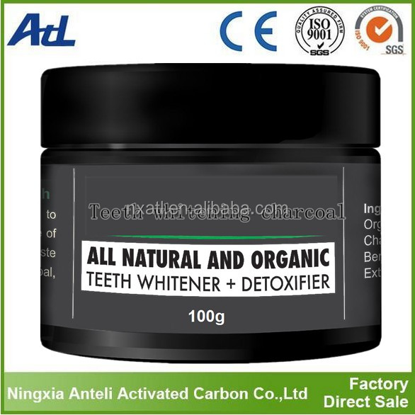 activated coconut shell charcoal teeth whitening powder for brush teeth